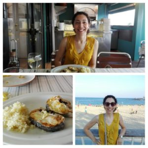 Eating out at Bogatell Beach barcelona im the summer