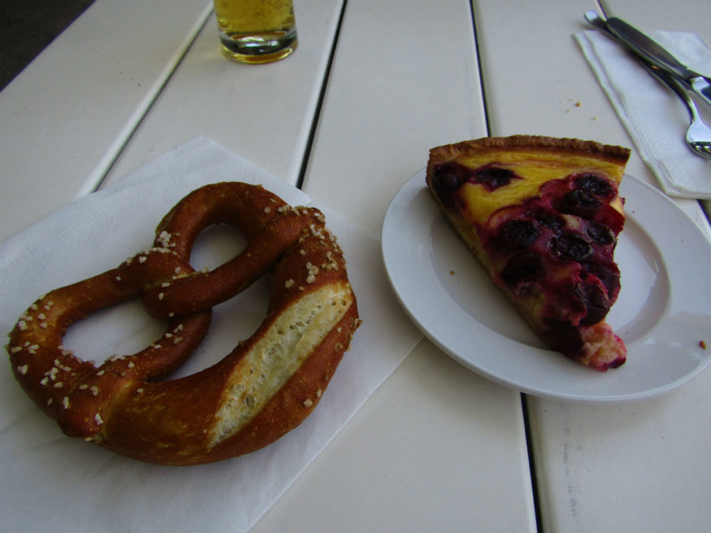 Bretzel and fruit cake in the BierGarten in Munich Germany