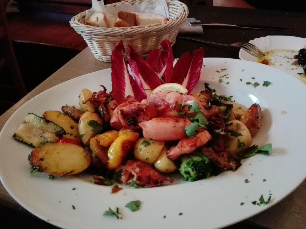Seafood at Italian restaurant