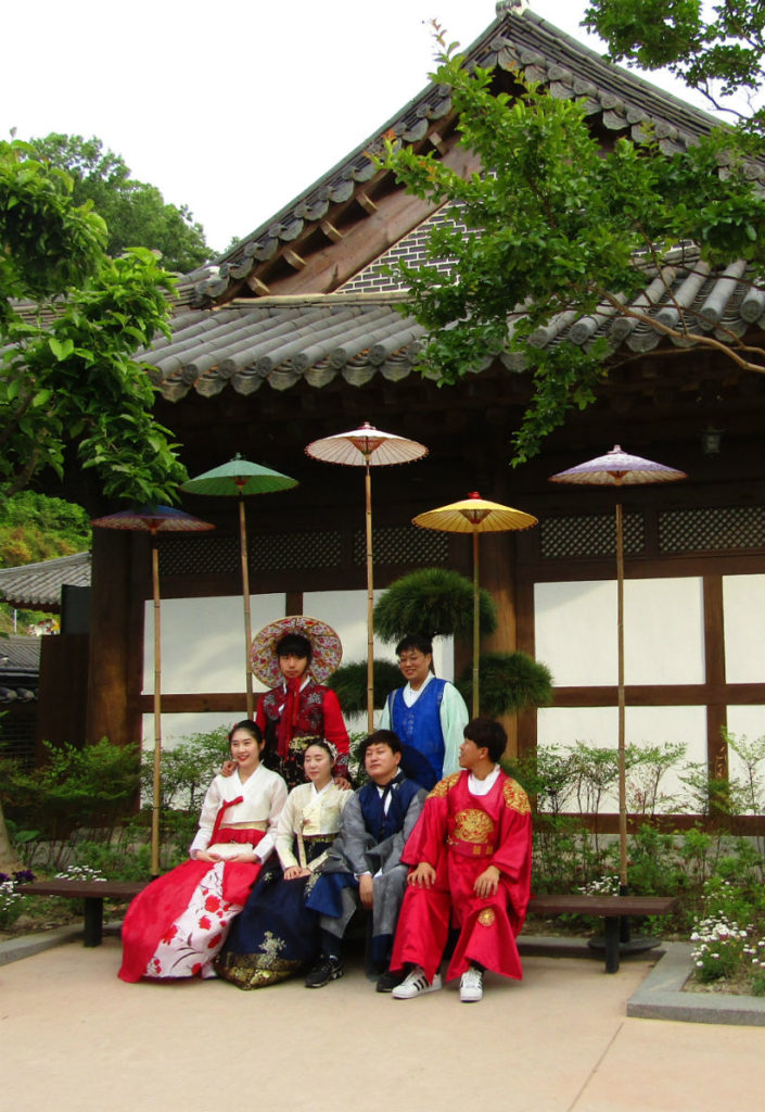 Traditional Hanbok worn by a Korean Family in Jeonju Korea