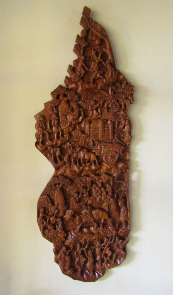 Madagascar wooden carved map