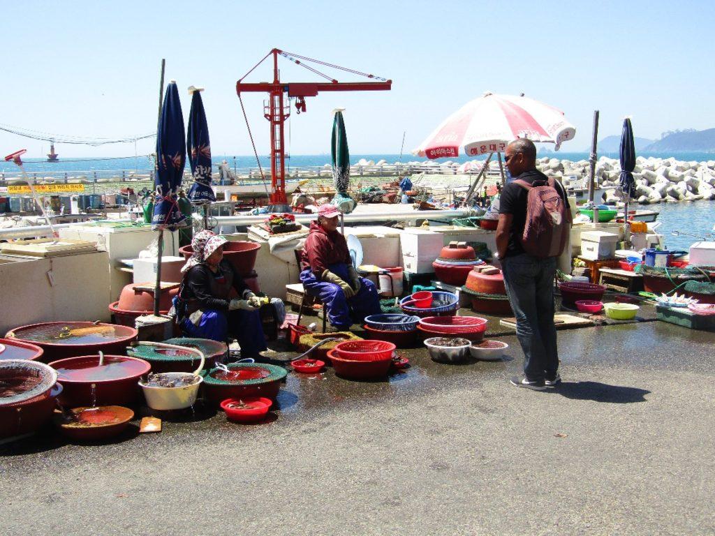 Seafood street market in Busan Haeundae Beach