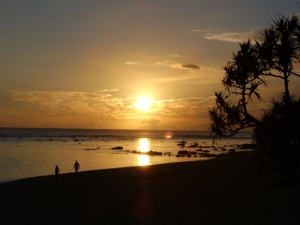 Reunion island sunset in the Indian Ocean