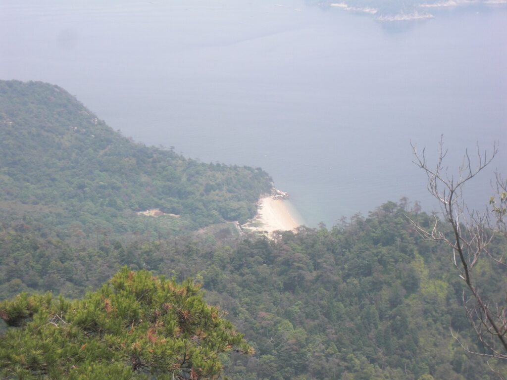 View of a deserted beach from Mount Misen Observatory