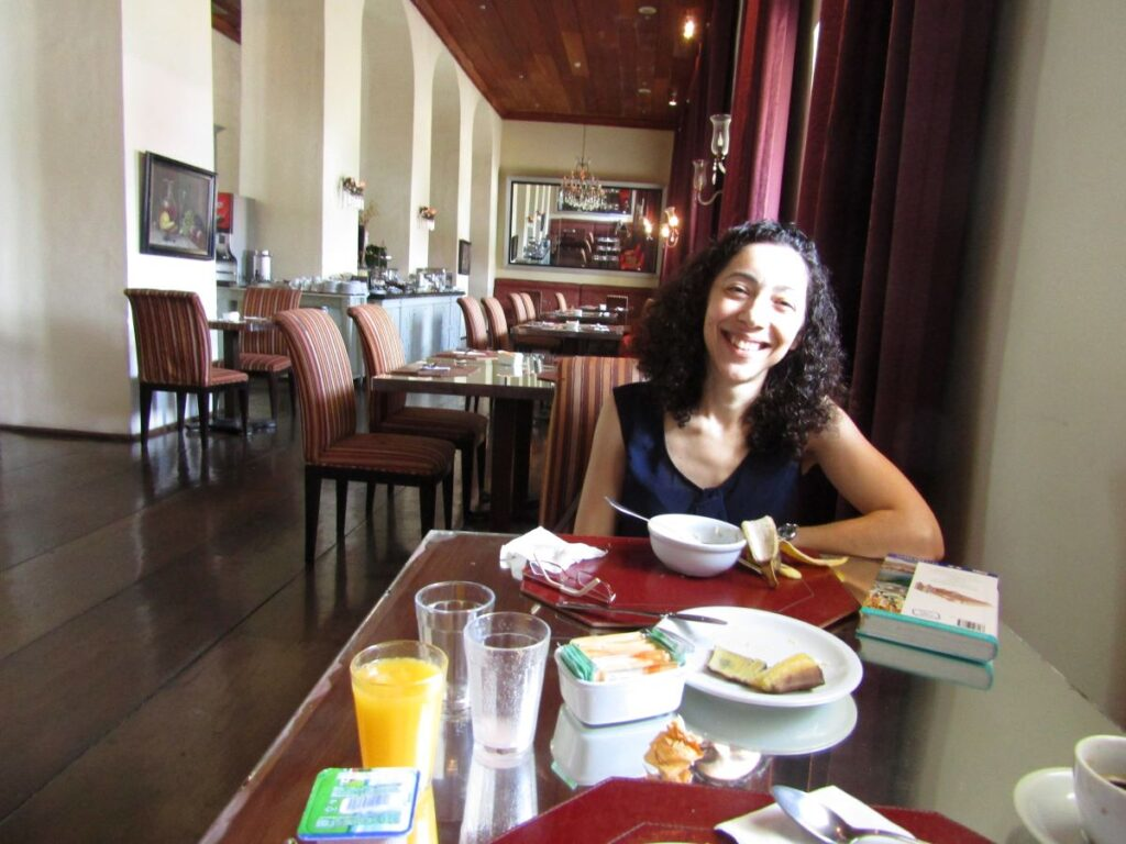 Enjoying breakfast with special diet options at an amazing hotel restaurant of Salvador de Bahia