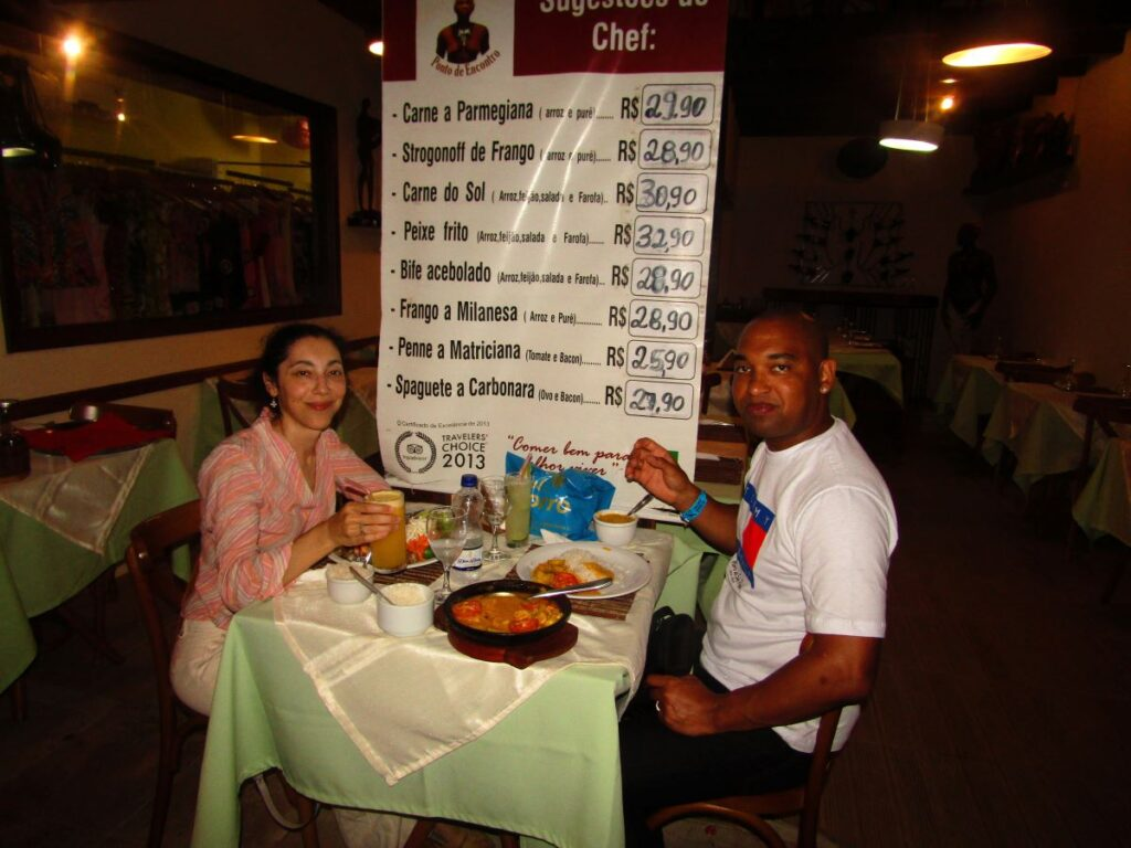 Dinner in Morro de Sao Paolo following my special diet